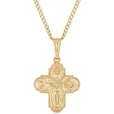 "14kt gold filled yellow cross with multi regelious saints with a 20"" 14kt gold filled yellow curb chain"