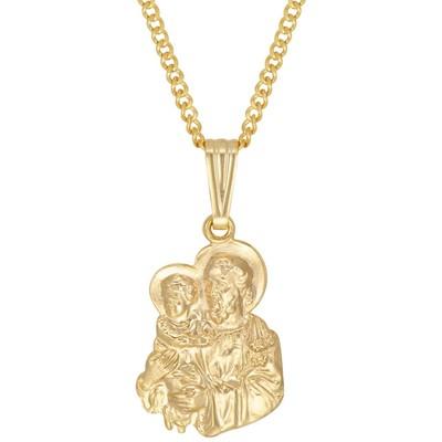 """14kt gold filled yellow St. Joseph's medallion with a 20"""" 14kt gold filled yellow curb chain"""