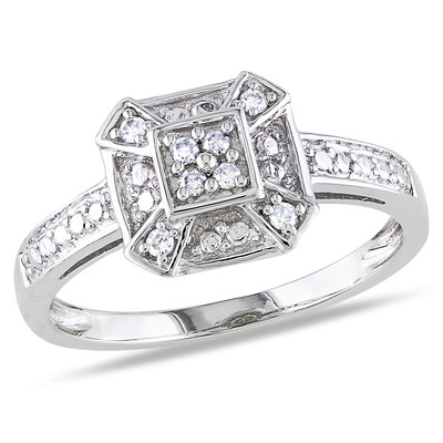 1/10 CT TW Diamond Square Ring in 10k White Gold