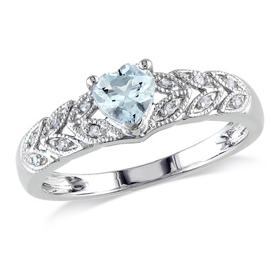 Aquamarine and Diamond Accent Vintage Heart Ring in Sterling Silver