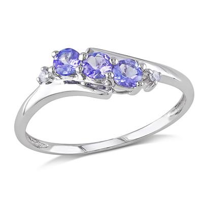 Diamond and Tanzanite 3-Stone Ring in 10k White Gold