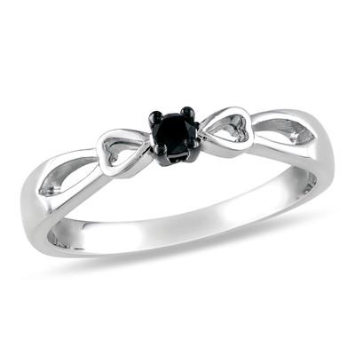 1/10 CT TW Black Diamond Split Shank Heart Engagement Ring in Sterling Silver