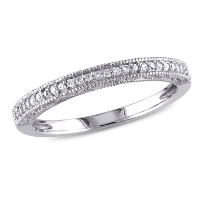 1/10 CT TW Diamond Wedding Band in 10k White Gold