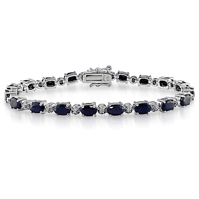Diamond and 11 1/6 CT TGW Black Sapphire Bracelet in Sterling Silver