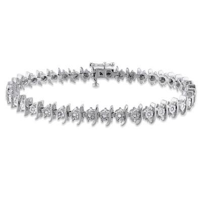 1/2 CT TW Diamond Tennis Bracelet in Sterling Silver