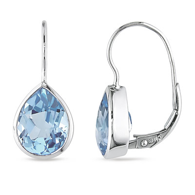 Amour Collection 10K White Gold Sky Blue Topaz Dangle Earrings