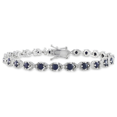 3 3/8 CT TGW Black Sapphire and Diamond X-Link Bracelet in Sterling Silver