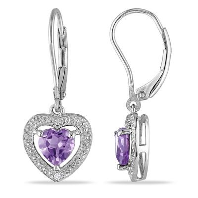 Amethyst and Diamond Heart Leverback Earrings in Sterling Silver