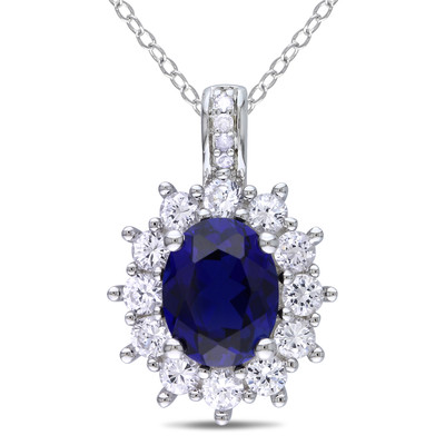 Diamond and 4 CT TGW Created Blue and Created White Sapphire Oval Halo Pendant with Chain in Sterling Silver