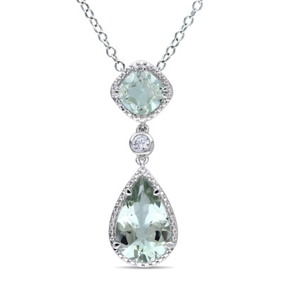 5 CT TGW Green Amethyst and Created White Sapphire Teardrop Halo Pendant with Chain in Sterling Silver