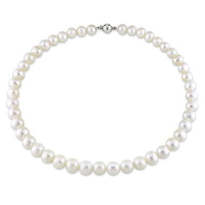 9 - 10 MM Freshwater Cultured Pearl Strand with Sterling Silver Ball Clasp