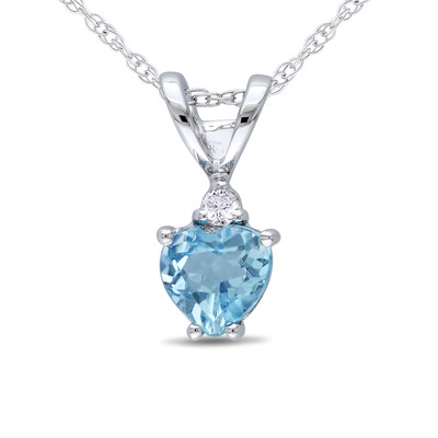 Heart Shaped Sky-Blue Topaz and Diamond Pendant with Chain in 10k White Gold