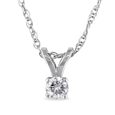 1/10 CT TW Diamond Solitaire Pendant with Chain in 14k White Gold