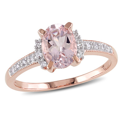 Oval Cut Morganite and Diamond Ring in Rose Plated Sterling Silver