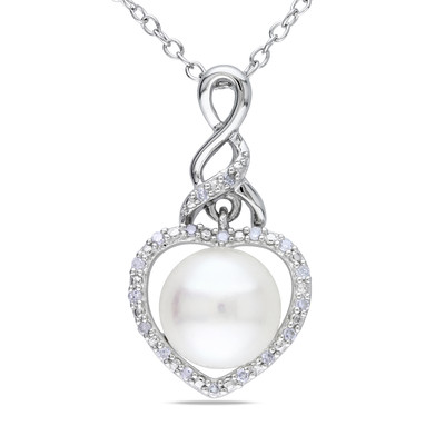 8 - 8.5 mm White Freshwater Cultured Pearl and Diamond Heart Pendant with Chain in Sterling Silver