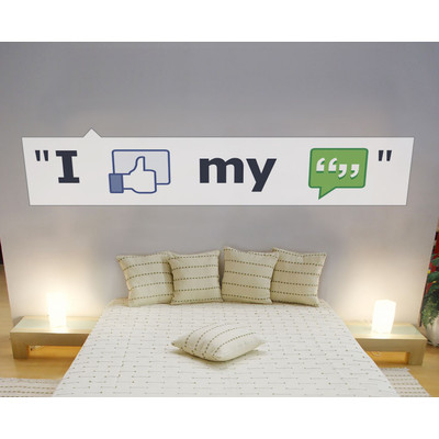 JP London uStrip Peel and Stick Mural MD4132 Face Book Social Media Network Like Removable Wall Mural at 6 feet wide by 1.5 feet high