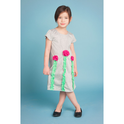 Gidget Loves Milo Kiss The Sky 1-Piece Girls' Dress with Rick Rack Flowers