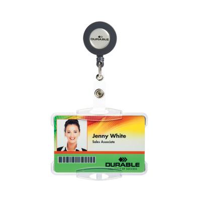 Durable Single ID Holder Badge Reel - Open: Box of 10