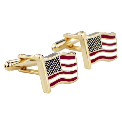 Cufflinks of American Flag - Gold Color