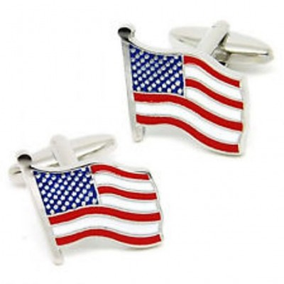 Cufflinks of American Flag - Silver Color