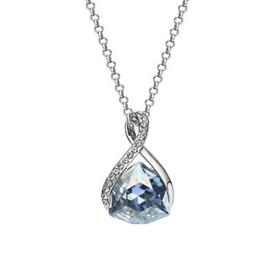 Platinum Plated Blue Austrian Crystals Pendant