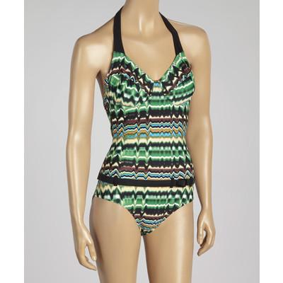Belted underwire halter one-piece swimsuit