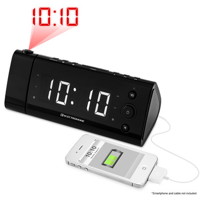 """Electrohome USB Charging Alarm Clock Radio for Smartphones and Tablets with Time Projection, Battery Backup, Auto Time Set, Dual Alarm, 1.2"""" White LED Display (EAAC475W)"""