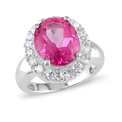Amour Collection Sterling Silver Pink Topaz and White Topaz Ring