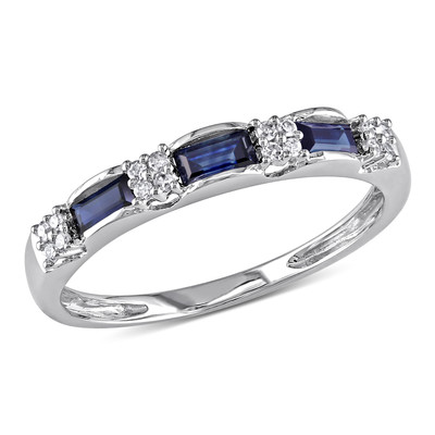 Amour Collection 10K White Gold Sapphire and Diamond Eternity Ring (.07 Cttw, H-I Black and Color, I2-I3 Clarity)