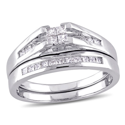 Amour Collection 14K White Gold Diamond Bridal set Ring (.5 Cttw, G-H Color, I1 Clarity)