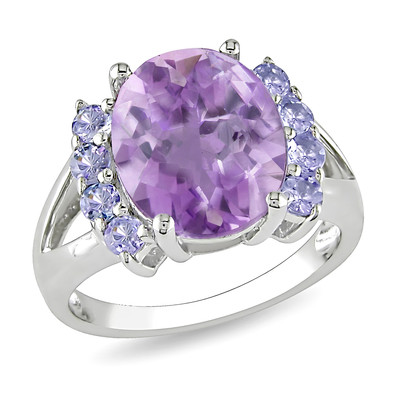 Amour Collection Sterling Silver Amethyst and Tanzanite Ring