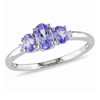 Amour Collection 10K White Gold Tanzanite and Diamond Three Stone Ring (.02 Cttw, G-H Color, I2-I3 Clarity)