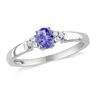 Amour Collection 10K White Gold Tanzanite and Diamond Three Stone Ring (.05 Cttw, G-H Color, I2-I3 Clarity)