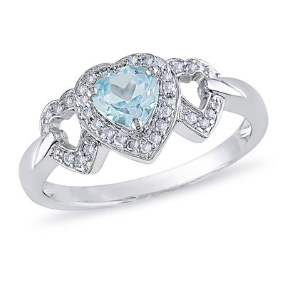 Amour Collection 10K White Gold Sky Blue Topaz and Diamond Heart Ring (0.14 Cttw, G-H Color, I2-I3 Clarity)