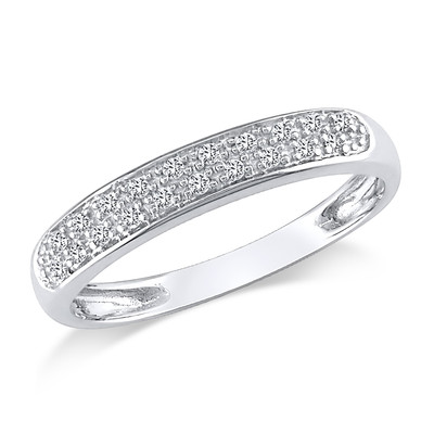 Amour Collection 10K White Gold Diamond Ring (.08 Cttw, G-H Color, I2-I3 Clarity)