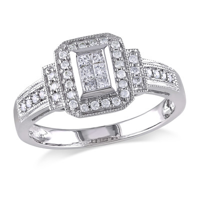 1/3 CT TW Princess Cut and Round Diamond Layered Engagement Ring in 14k White Gold