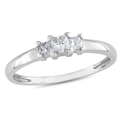 Amour Collection 10K White Gold Diamond Three Stone Ring (.25 Cttw, G-H Color, I1-I2 Clarity)