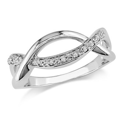 Amour Collection Sterling Silver Diamond Infinity Ring (.08 Cttw, H-I Color, I3 Clarity)