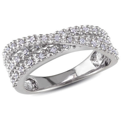 1/4 CT TW Diamond Crossover Ring in Sterling Silver