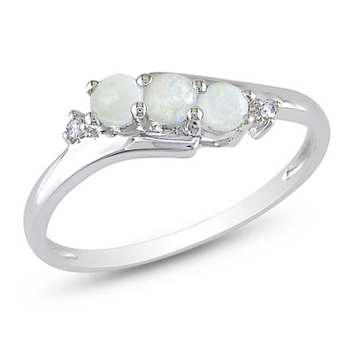 Diamond and Opal 3-Stone Ring in 10k White Gold