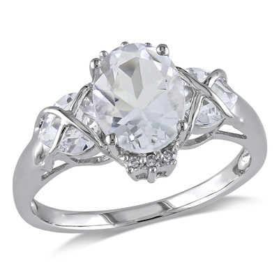 Amour Collection 10K White Gold White Topaz and Diamond Cocktail Ring (0.03 cttw, G-H Color, I1-I2 Clarity)