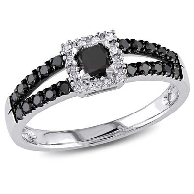 Amour Collection 10K White Gold Black and White Diamond Ring (0.5 cttw, G-H Color, I2-I3 Clarity)