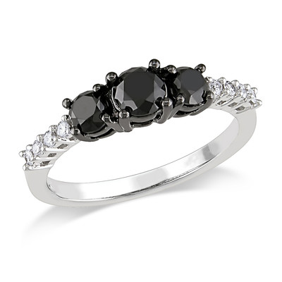 Amour Collection 10K White Gold Black and White Diamond Three Stone Ring (1 Cttw, G-H Color, I2-I3 Clarity)