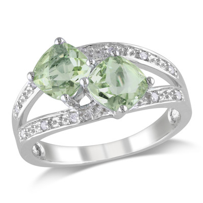 Amour Collection Sterling Silver Green Amethyst and Diamond Ring (0.05 Cttw, G-H Color, I3 Clarity)