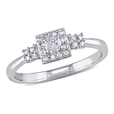 1/4 CT TW Diamond Square Halo Cluster Engagement Ring in 10k White Gold