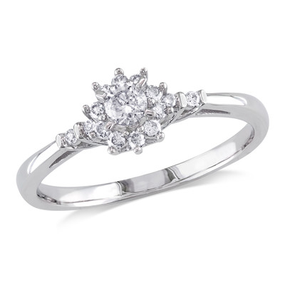 1/4 CT TW Diamond Prong and Bar Set Floral Engagement Ring in 10k White Gold