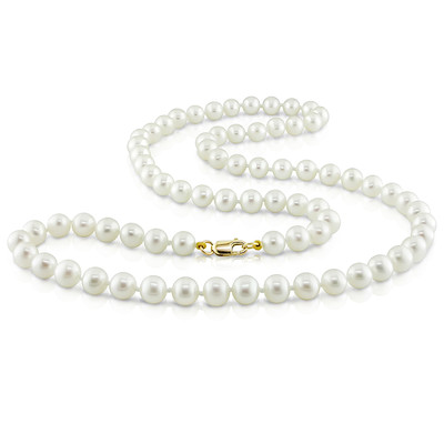 "5 - 6 MM Freshwater Cultured Pearl 18"" Strand with 10k Yellow Gold Clasp"