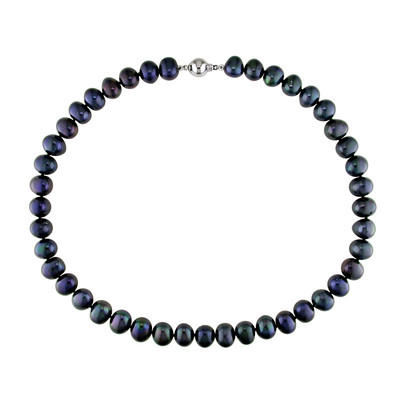 9 - 10 MM Black Freshwater Cultured Pearl Strand with Sterling Silver Ball Clasp