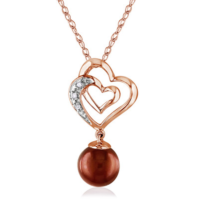Brown Freshwater Cultured Pearl and Diamond Linked Heart Drop Pendant with Chain in 10k Rose Gold