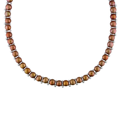 Brown Freshwater Cultured Pearl Strand with Sterling Silver Beads and Clasp